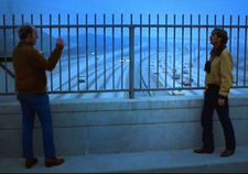 Tom Farrell with Harry Dean Stanton on the bridge in Paris, Texas